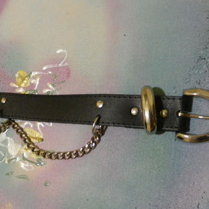 Contempo Vtg boho stmpunk chains blk leather belt
